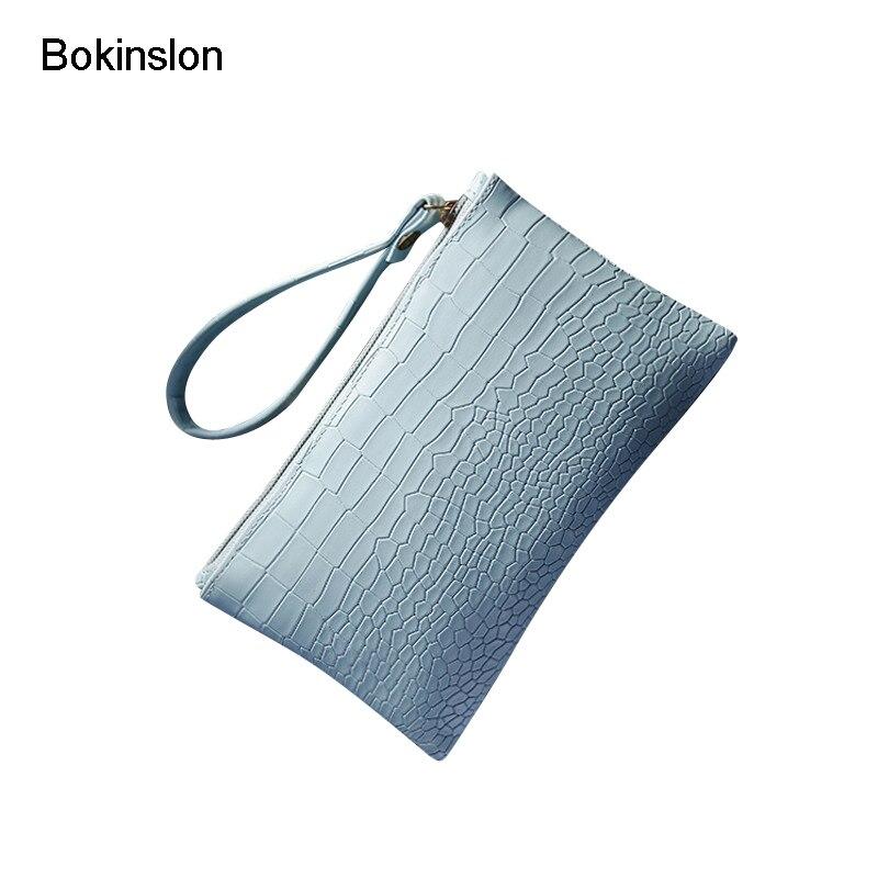 Bokinslon Handbags Woman PU Leather Fashion Female Coin Purse Solid Color Elegant Women Coin Purse Hand Bags