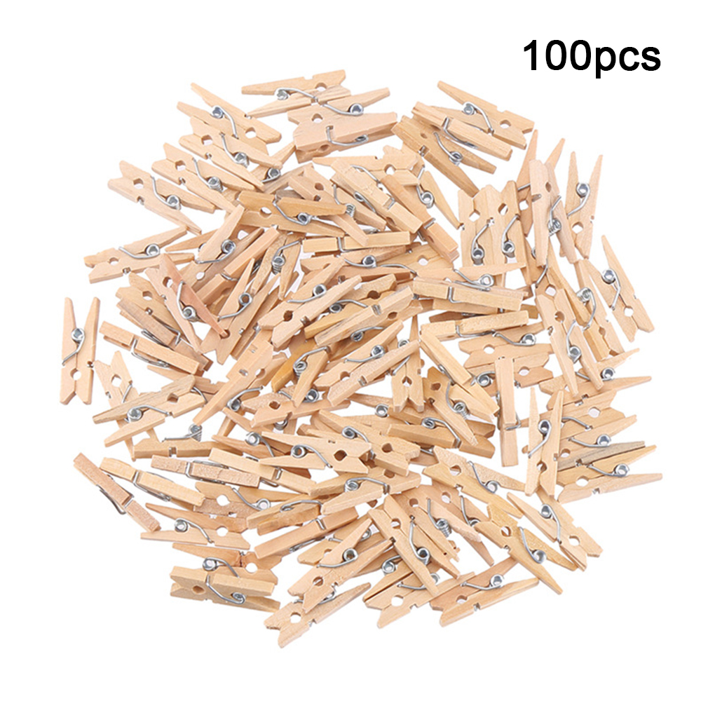 Cheap Sales 100Pcs 2.5cm Mini Natural Wooden Clothes Pin Photo Paper Peg Clothespin DIY Craft Free Shipping