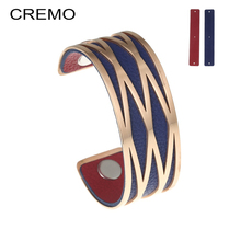 Cremo Pink Bracelets & Bangles Stainless Steel Bracelet Manchette Femme Jewelry Reversible Leather Arm Bangle Pulseiras