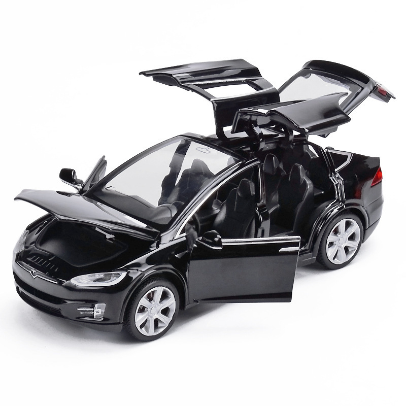 Toys Model Diecasts Vehicles Car-Pull-Back Tesla Open-Door X90-Alloy Metal High-Simulation