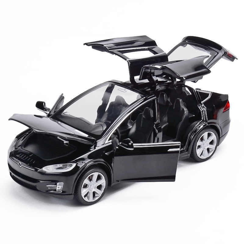 1:32 Tesla Model X90 Alloy Diecasts Car Model High Simulation Metal Vehicles Car Pull-back 6 Open Door Toys For Children Gifts
