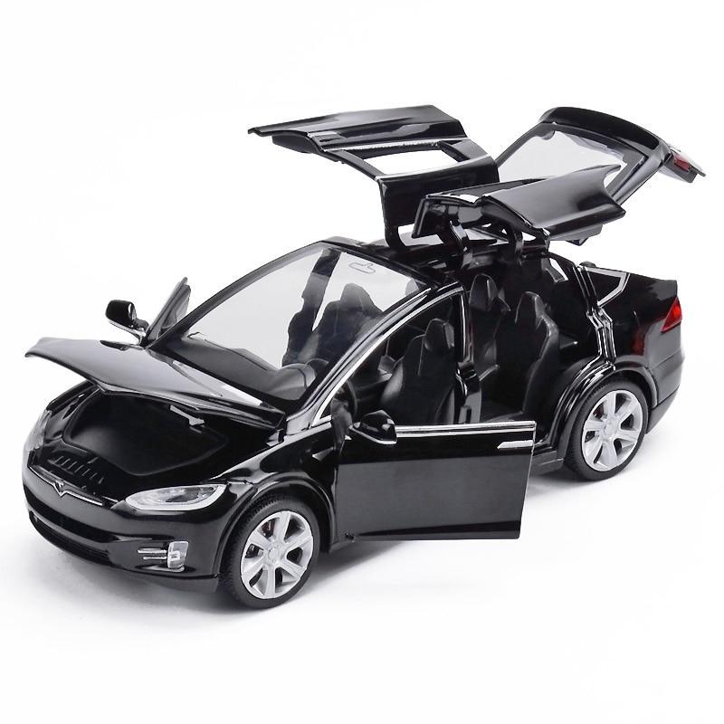1:32 Modelo Tesla X90 Veículos Diecasts Liga Carro Modelo de Simulação de Alta de Metal Pull-back 6 Porta Aberta Do Carro Brinquedos para As Crianças Presentes