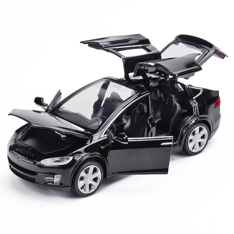 1:32 tesla modelo x90 liga diecasts modelo de carro alta simulação de veículos de metal carro pull-back 6 porta aberta brinquedos para presentes das crianças