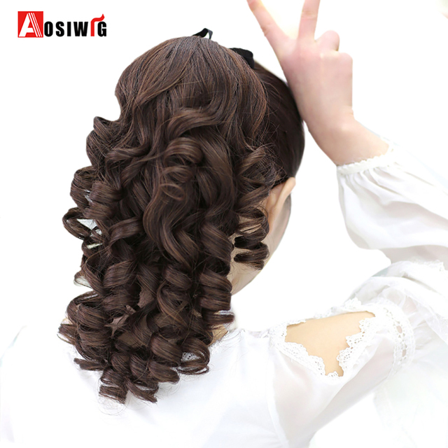 Aosiwgi Curly Ponytail Drawstring Hair Heat Resistant Clip In Extensions Natural Fake