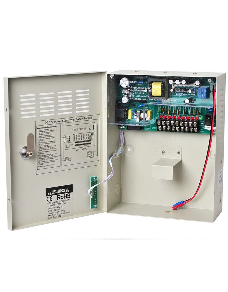 CCTV UPS Power Supply DC 12V 5A 9Channel Uninterruptable Boxed Power 4pcs 12v 1a cctv system power dc switch power supply adapter for cctv system