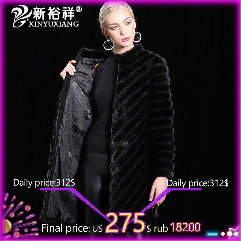 100% натуральный Китай норковая шуба женская теплая натуральная кожа длинная меховая одежда Зимняя верхняя одежда натуральная черная норков...