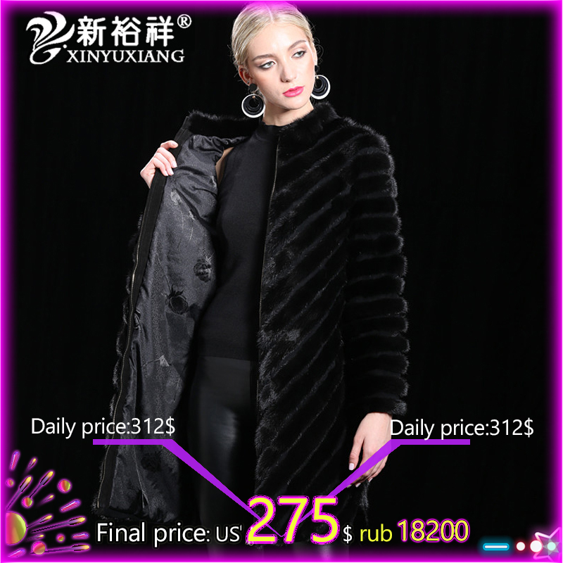 DHL Real China Mink fur Coat Women Warm Genuine Leather long Fur Clothes Winter Outwear Natural Black Jacket For 2017