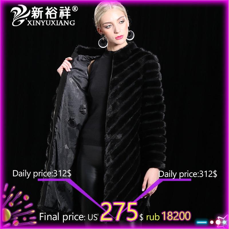 100% Reale China Visone Cappotto di pelliccia Delle Donne Caldo del Cuoio Genuino lungo Della Pelliccia Vestiti di Inverno Outwear Nero Naturale Giacca di Visone Per delle donne