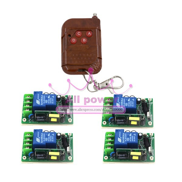 цена на 1Channel AC 85~250V 110V 220V 230V 30A Remote Control Switch Relay Output Radio 4 Receiver Module and1 Transmitter 315MHZ 433MHZ