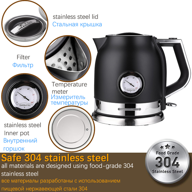 1 8L 304 Stainless Electric Kettle With Water Temperature Control Meter Household Quick Heating Electric Boiling