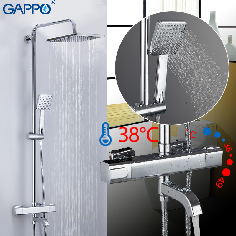 GAPPO shower system Auto Thermostat Control shower faucets waterfall bathtub faucet water mixer bath mixer rain