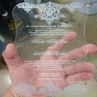 A ordem da amostra para 4.75*6.75 polegadas acrílico impressão do cartão de convite de casamento de bolso letras 3mm de espessura