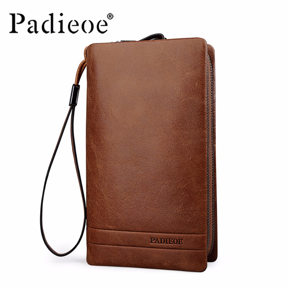 Padieoe 2017 New Men Clutch Genuine Leather Large Capacity High Quality Purse Cowhide Wallet Men's Business Clutch Free Shipping  padieoe brand 2017 new men wallet genuine leather cowhide purse credit card wallet large capacity men s wallet free shipping