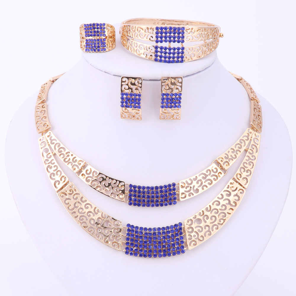 4672433bc7 Jewelry Sets Fashion Wedding Accessories African Jewelry Sets Gold Color  Rhinestone Necklace Earrings Set Bridal Jewelry Set