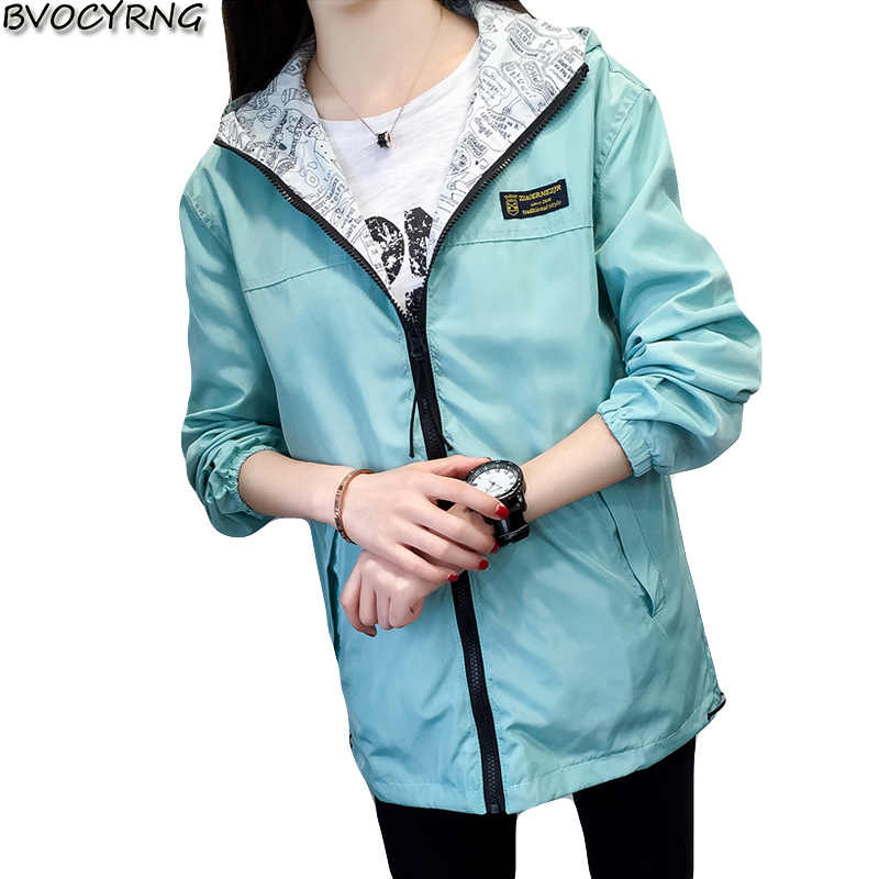 2019 Spring Autumn Women Jacket fashion Hooded Two Side Wear Cartoon Print Outwear women Loose Coat female Windbreaker tops
