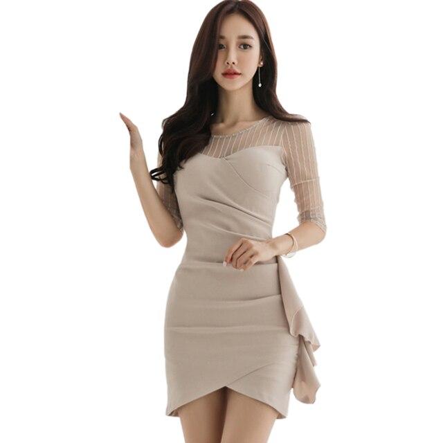 c2305763b0f Spring Women Dress 2018 New Korean Elegant Ladies Dress Splicing Gauze Slim  Bodycon Dress Sexy Party Dress