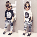 2-8Years Old Baby Girls Clothing Set Striped Fashion Children Sets Spring/Autumn New Girls 2PC Cotton Clothes Sets