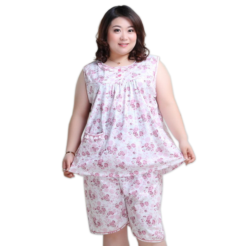 Plus size XXXXXL shorts women   pajamas     sets   sleeveless cotton summer pijama sleepwear Fresh Floral women pyjamas 130KG
