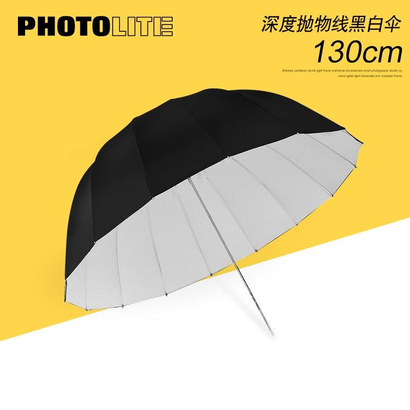 Parapluie réflecteur parabolique profond de 51 pouces 135 cm parapluie réflecteur en caoutchouc noir et blanc ou noir et argent