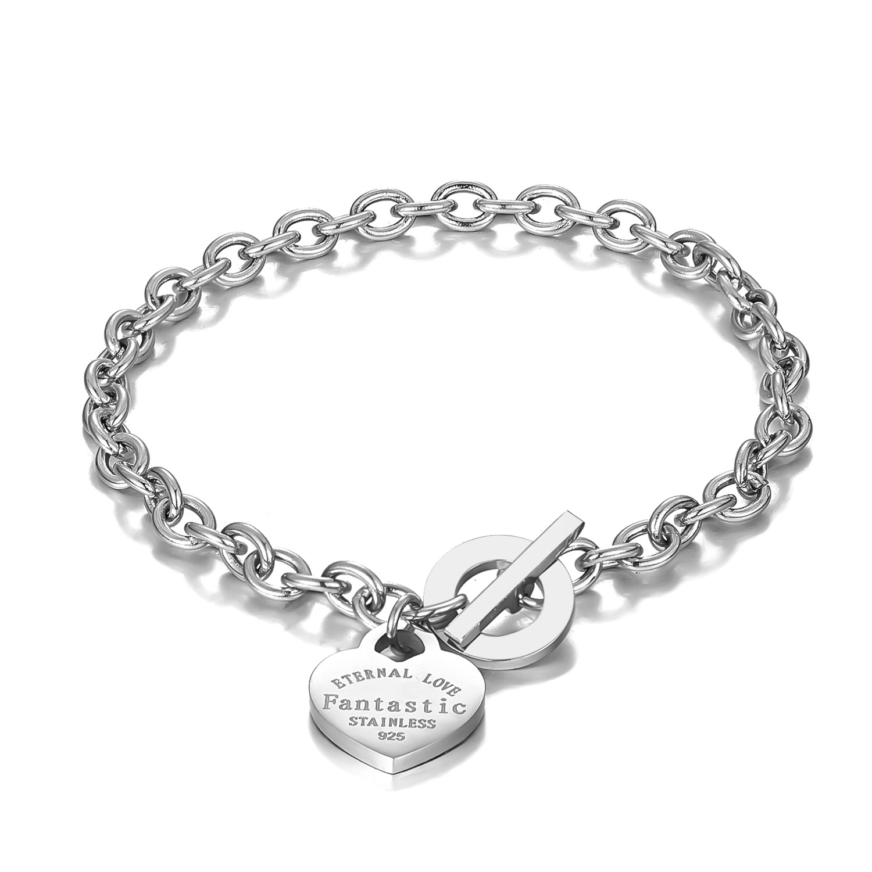 Love Heart Pendant Bracelet Bangle Stainless Steel