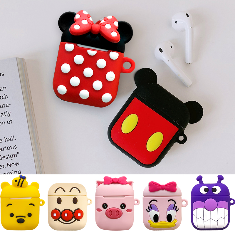 Cute Cartoon Wireless Bluetooth Earphone Case For Apple Air Pods Charging Box For Airpods Protective Cover With Hooks