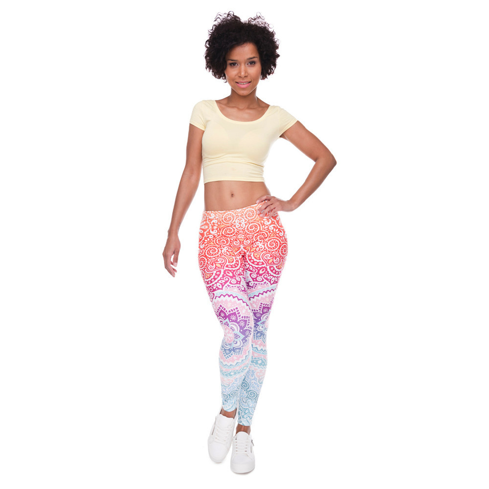 Brands Women Fashion Legging Aztec Round Ombre Printing leggins Slim High Waist  Leggings Woman Pants 4