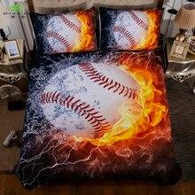 3D Fire Basketball Bedding Set Duvet Cover Sets Soccer baseball Single Size Bed Cover Full Size Bed Linen Bedding Drop Shipping