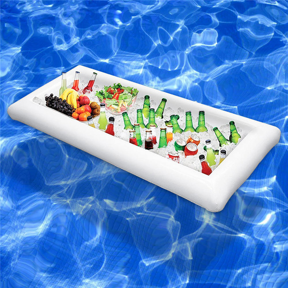 Pool Float Inflatable Beer Table Mattress Ice Bucket Serving Salad Bar Tray Food Drink Holder For Summer Water Party Air