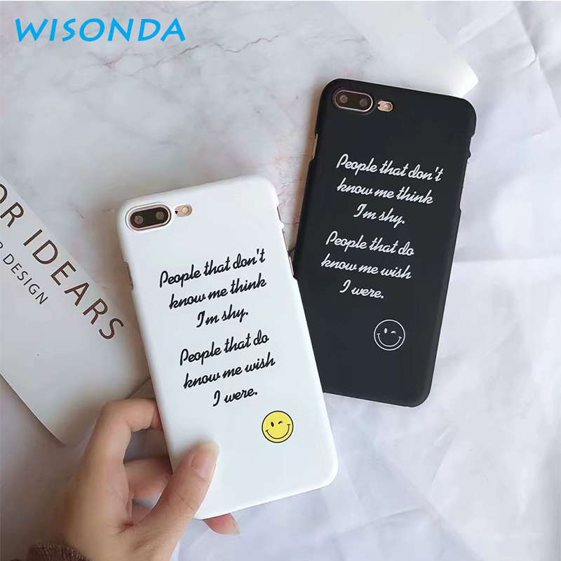 WISONDA NEW quotes message patterned phone case for iphone 6 6s 7 7plus 8 X covers PC En ...
