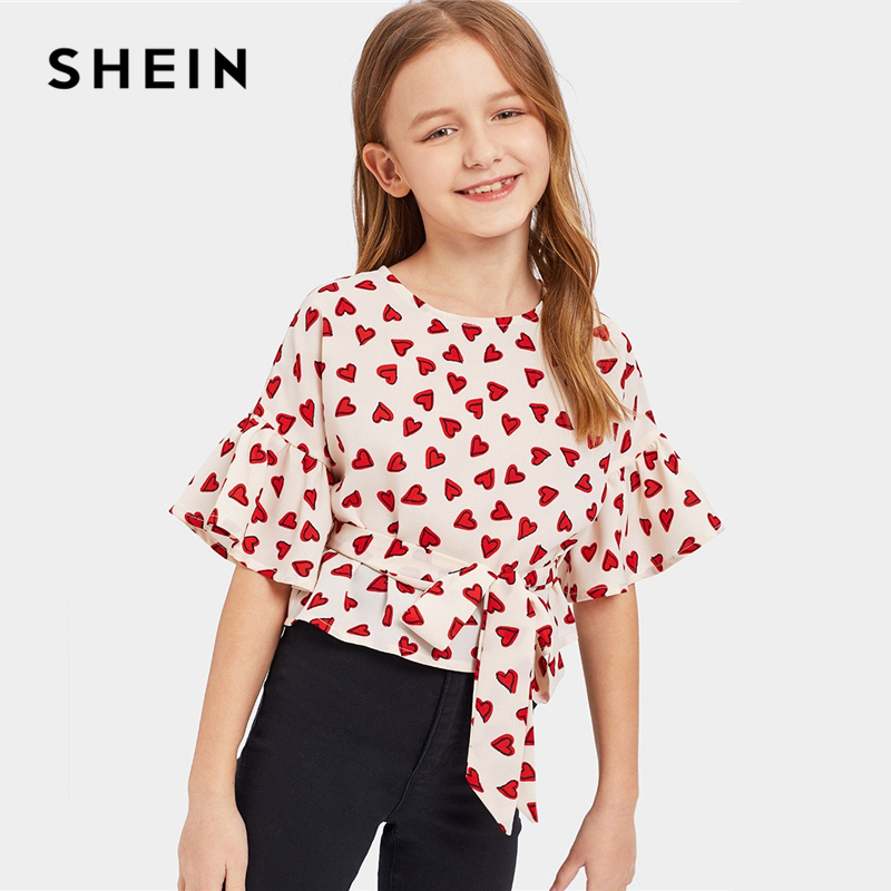 SHEIN Kiddie Hearts Print Girls Cute Blouse With Belt Kids Top 2019 Summer Korean Flounce Sleeve Asymmetrical Hem Casual Blouses plus size bell sleeve mini lace dress with flounce hem