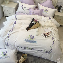 White Floral Patterns Embroidered King Queen Size 4/6/7 Cotton Embroidery Bedding Set Duvet Cover Bed Linen Bed sheet Pillowcase