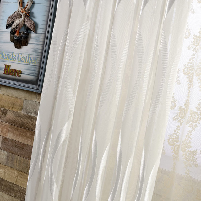 Wavy Stripes Shiny White Tulle Curtains For Living Room Organza