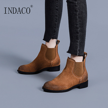 Ankle Boots for Women 3cm Winter Chelsea Leather