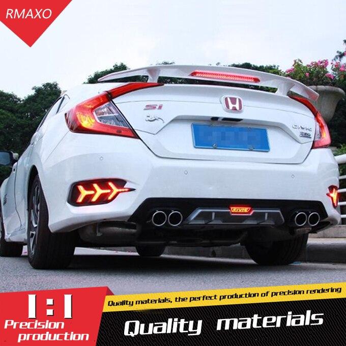 For Honda 16 Civic Body kit bumper rear lip rear spoiler For Civic Rear spoiler ABS