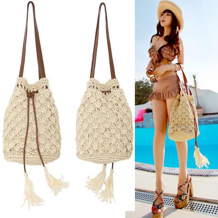 tassel bucket hook needle straw bag rattan bags beach bag pure ...