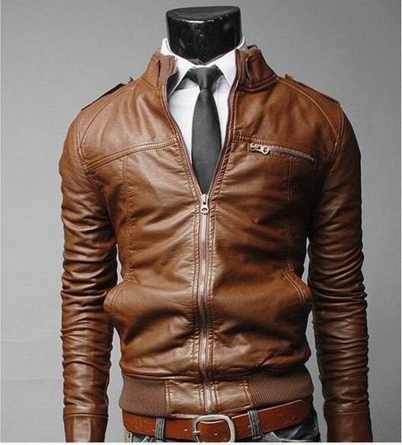 Mens PU Motorcycle Fashion Trends Personality Fashion Mens Windproof Leather Jackets Business Ties Epaulets Leather Clothing