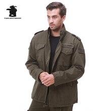 Marke männer Leinwand M65 Fleece Graben Qualität Gewaschener Baumwolle armee Mantel Plus Größe Militär Baumwolle Mantel Für Männer M ~ 4XL D35F