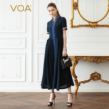 VOA Heavy Silk Long Dress Women Swing Dresses Plus Size 5XL Solid Slim Navy Blue Vintage Chinese Summer Short Sleeve A391