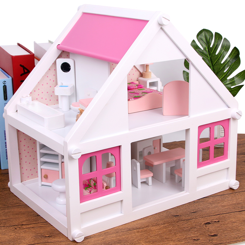 4 Rooms Set White Wooden Doll House Pretend Toy Kids Wooden Villa with Doll Furniture and Puppets 3.5 kg Girls Birthday Gift