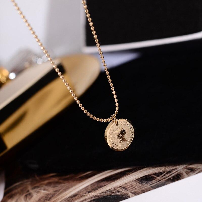 YUN RUO винтажное ожерелье с кулоном из титановой стали, розовое золото, подарок на день рождения, никогда не выцветает, оптовая продажа