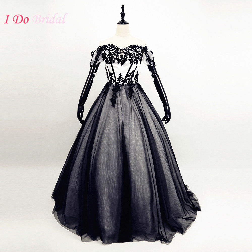 Gothic black and white wedding dresses country western for Princess corset wedding dresses