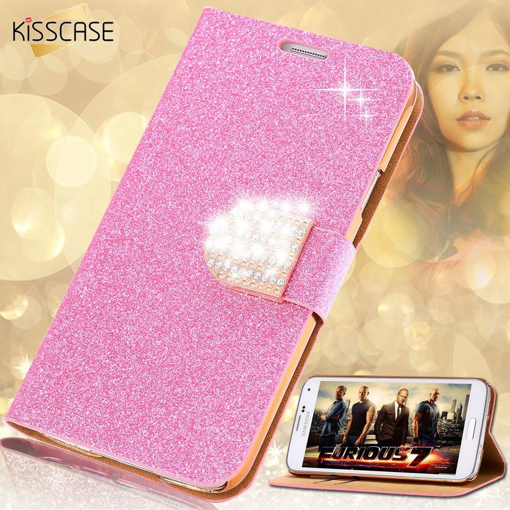 KISSCASE Glitter Leather Phone Case For Samsung Galaxy S7 Edge S6 Edge Plus S5 Note 4 5 Women Girl Bling Diamond Flip Case Cover