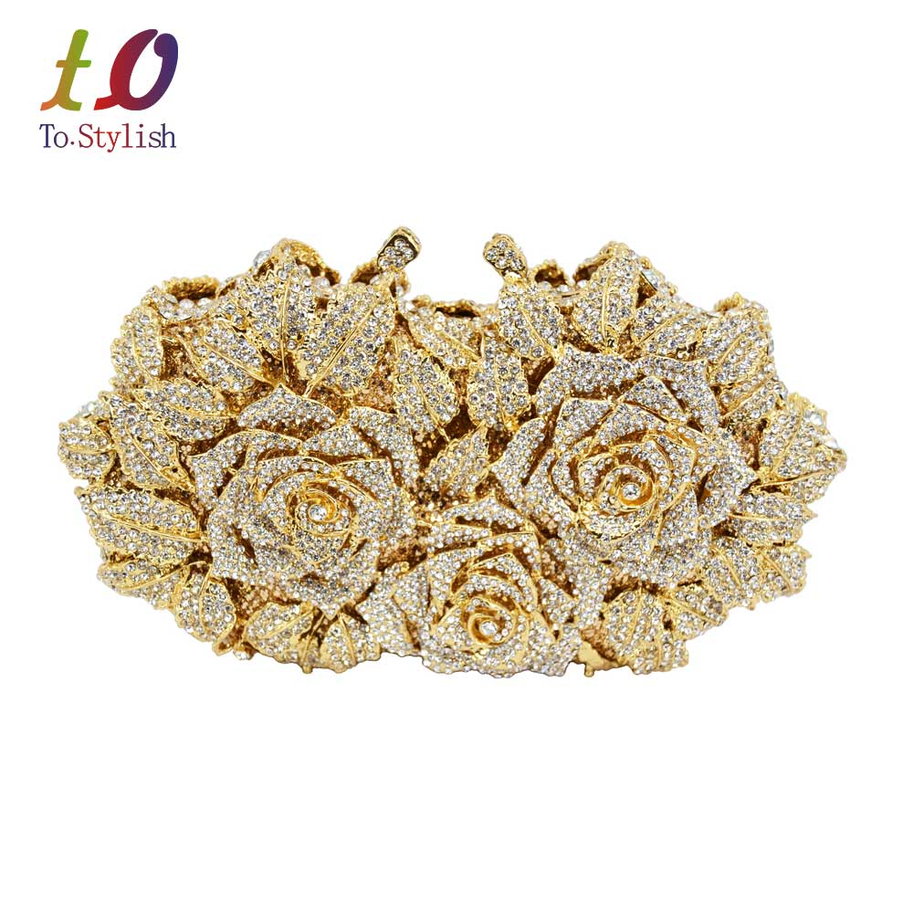 ФОТО LaiSC Gold Silver Evening Bag Rose Flower Holiday Party Clutch Purse Crystal Bag Stylish Day Clutches Prom Ladies Handbag SC427