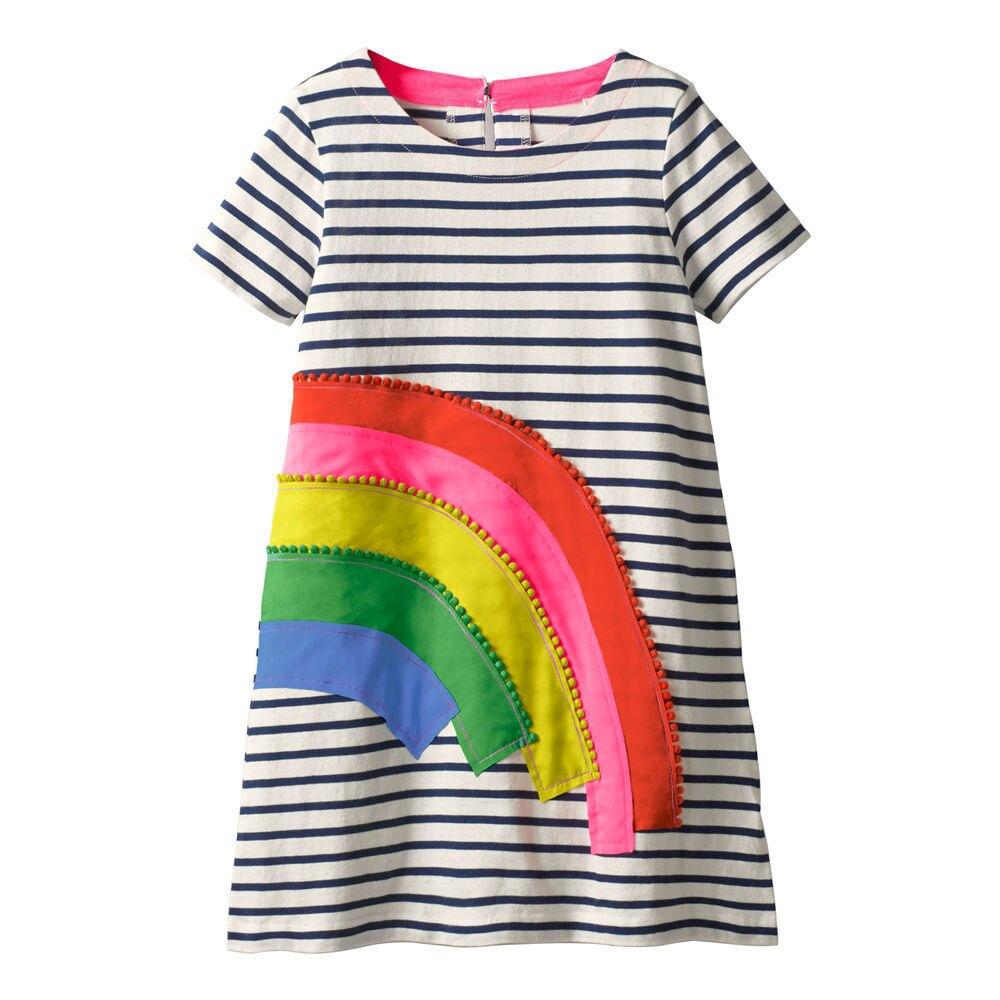 Платья для девочек Jumping meters, летнее платье принцессы с радужной аппликацией, брендовая одежда для маленьких девочек, детские платья-туника с...