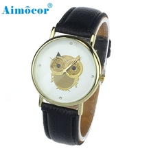2017 Newly Designed Relogio Feminino Clock  1PC Fashion Women Girl Gold Owl Pattern WristWatch Leather Quartz Watch Gift 323