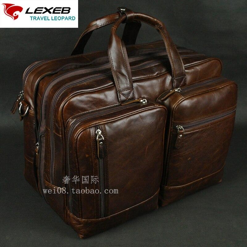 LEXEB кожаная сумка для ноутбука Для Мужчин's Портфели Бизнес дорожные сумки 42 см Длина большой Ёмкость с двойной молнии Открыть в кофе
