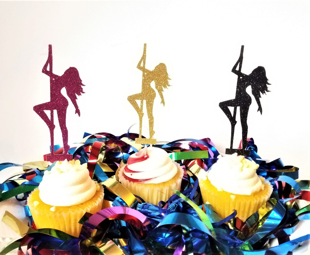 Pole Dancer Cupcake Toppers Bachelorette Party Pole Dancer