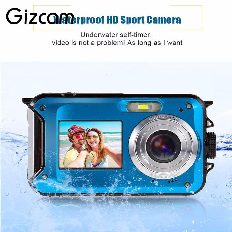 Gizcam 24MP Dual LCD Screen Compact Digital Camera Waterproof 16x Zoom Video Camcorder Mini Cameras CMOS Micro Camera EU plug aputure vs 1 7 v screen digital video monitor for dslr cameras eu plug