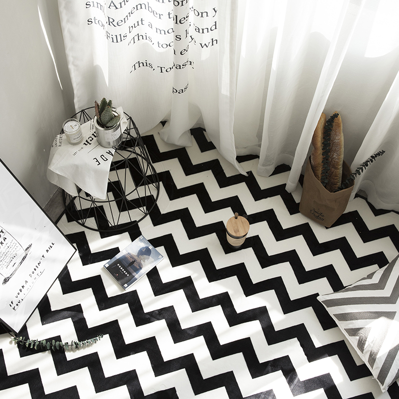 HUAMAO Nouveau Européenne Simple Tapis Noir Blanc Rayures Pour La Maison Salon Chambre Table Basse Tapis De Sol Zone de Vestiaire Tapis