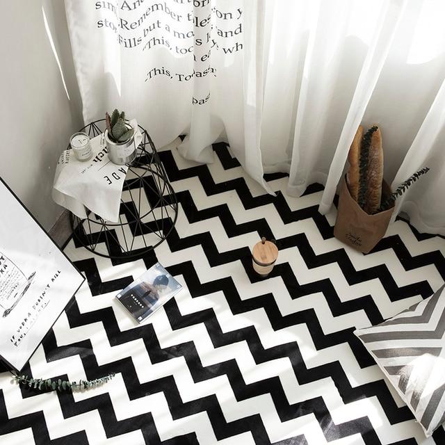 HUAMAO Nouveau Européenne Simple Tapis Noir Blanc Rayures Pour La Maison  Salon Chambre Table Basse Tapis